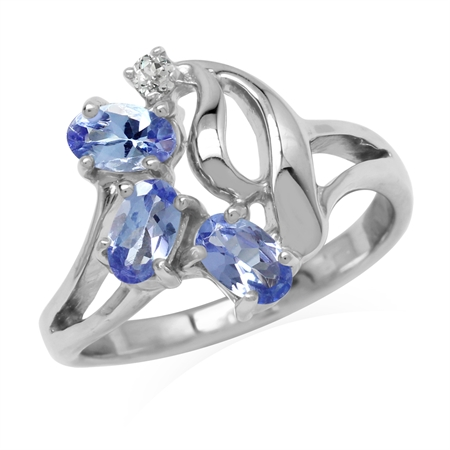 Genuine Tanzanite & White Topaz Gold Plated 925 Sterling Silver Cluster Ring