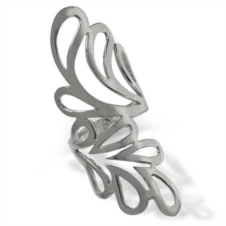 """2"""" Inch Long 925 Sterling Silver Modern Bypass Casual Ring"""