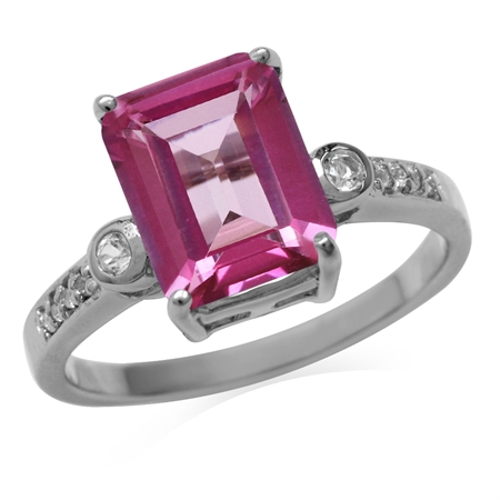 4ct. 10x8MM Genuine Octagon Shape Pink Topaz 925 Sterling Silver Cocktail Ring