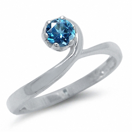 Genuine London Blue Topaz 925 Sterling Silver Swirl Solitaire Ring