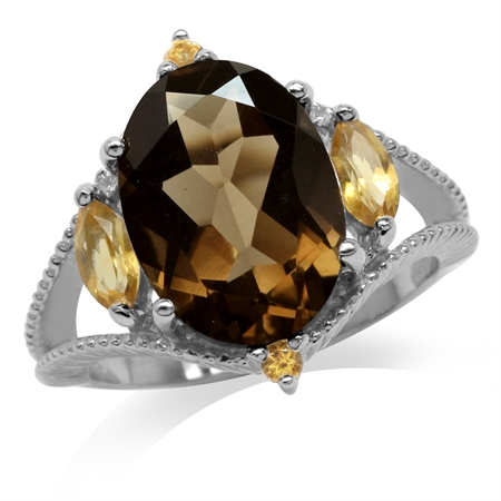 5.37ct. Natural Smoky Quartz & Citrine White Gold Plated 925 Sterling Silver Ring