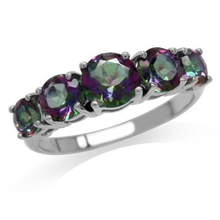 2.78ct. 5-Stone Mystic Fire Topaz White Gold Plated 925 Sterling Silver Ring
