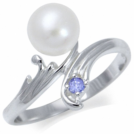 6MM Cultured White Pearl & Tanzanite 925 Sterling Silver Bypass Ring