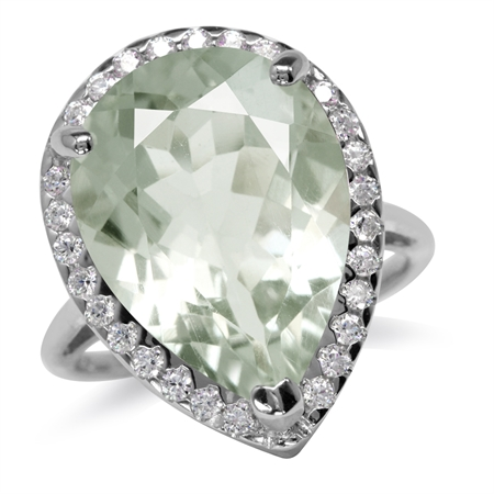 HUGE 9.54ct. 18x13MM Natural Pear Shape Green Amethyst & Topaz 925 Sterling Silver Cocktail Ring