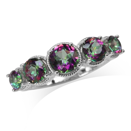 5-Stone Mystic Fire Topaz White Gold Plated 925 Sterling Silver Rope Ring