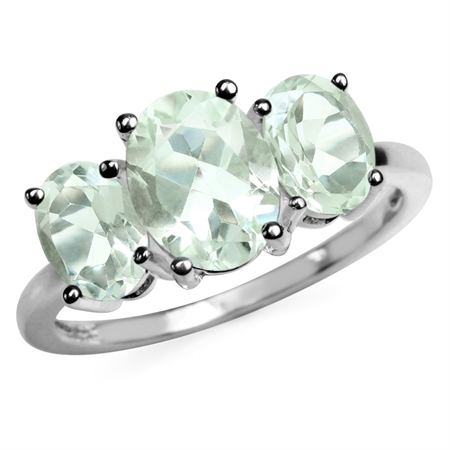3.32ct. 3-Stone Natural Oval Shape Green Amethyst 925 Sterling Silver Ring