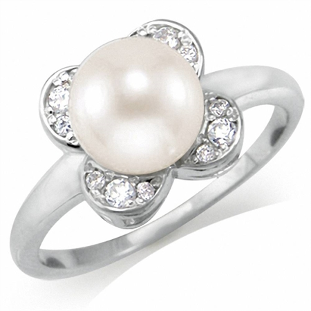7MM Cultured White Pearl & CZ 925 Sterling Silver Flower Ring