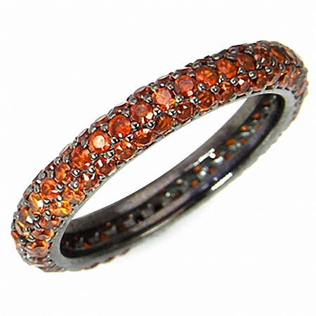 Glamorous Orange CZ 925 Sterling Silver Eternity Band Stack/Stackable Ring