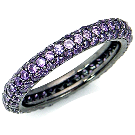 Glamorous Amethyst Purple CZ 925 Sterling Silver Eternity Band Stack/Stackable Ring