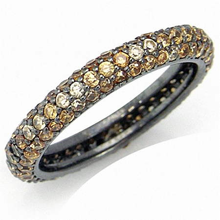 Glamorous Champagne CZ 925 Sterling Silver Eternity Band Stack/Stackable Ring