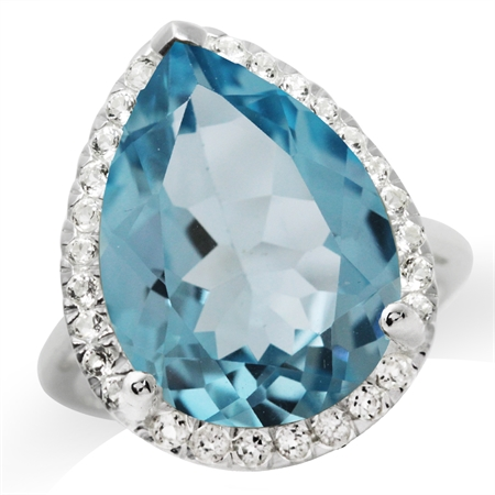 HUGE 14.72ct. 18x13MM Genuine Pear Shape Blue & White Topaz 925 Sterling Silver Cocktail Ring