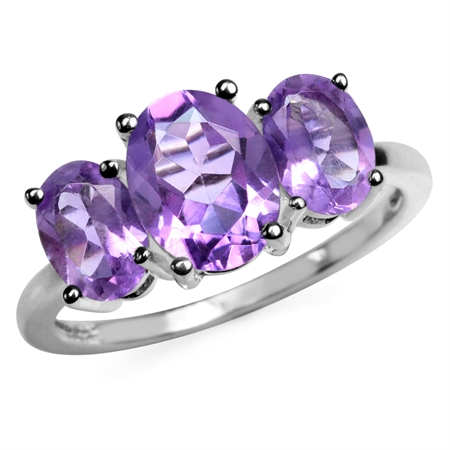 3.17ct. 3-Stone Natural Oval Shape Amethyst 925 Sterling Silver Ring