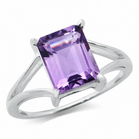 3.22ct. Natural February Birthstone Amethyst 925 Sterling Silver Solitaire Ring