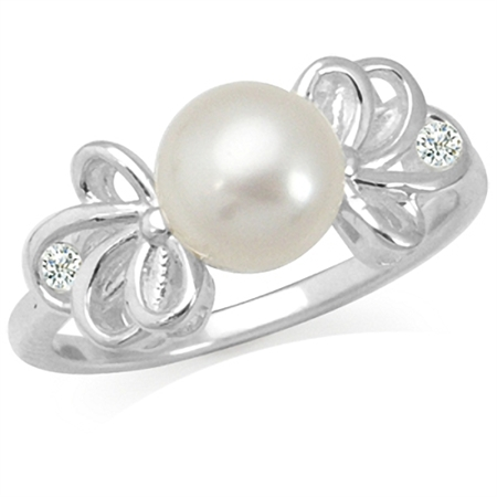 7MM Cultured White Pearl & White Topaz 925 Sterling Silver Ribbon Ring