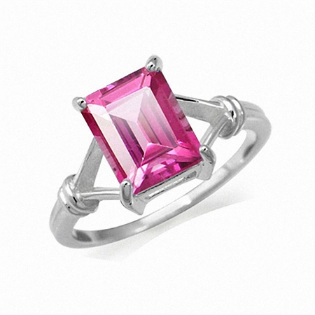 4.01ct. 10x8MM Genuine Octagon Shape Pink Topaz 925 Sterling Silver Solitaire Ring