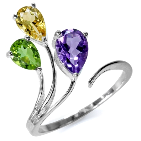 Natural Amethyst, Citrine & Peridot 925 Sterling Silver Bypass Adjustable Ring