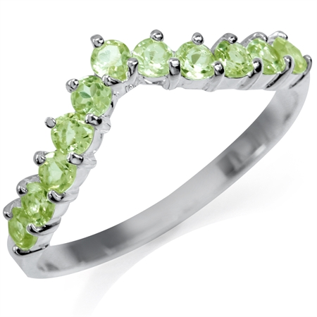 Natural Peridot 925 Sterling Silver V-Shape Stack/Stackable Ring