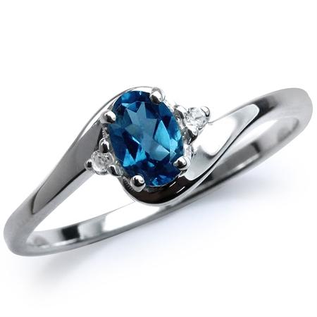 Genuine London Blue & White Topaz 925 Sterling Silver Engagement Ring