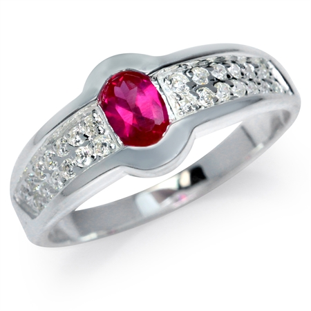 Simulated Ruby & White CZ 925 Sterling Silver Glamorous Ring