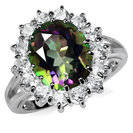 6.33ct. 12x10MM Oval Shape Mystic Fire Topaz 925 Sterling Silver Cluster Cocktail Ring