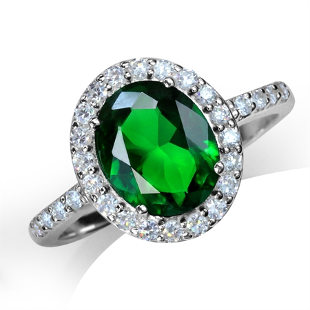 Tsavorite Green CZ White Gold Plated 925 Sterling Silver Glamorous Ring