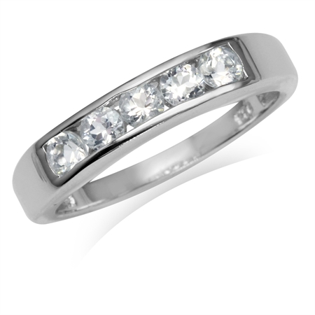 5-Stone Genuine White Topaz Gold Plated 925 Sterling Silver Ring