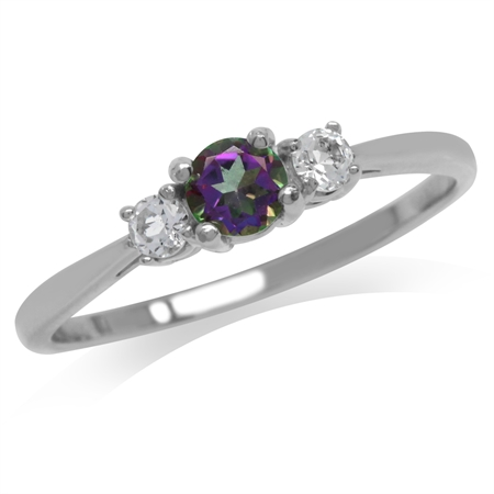 Petite 3-Stone Mystic Fire Topaz 925 Sterling Silver Promise Ring