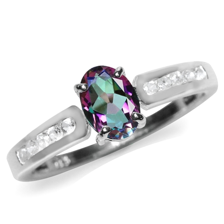 Mystic Fire Topaz White Gold Plated 925 Sterling Silver Engagement/Clearance Ring