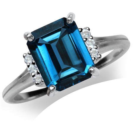 3.94ct. Genuine Octagon Shape London Blue Topaz 925 Sterling Silver Cocktail Ring