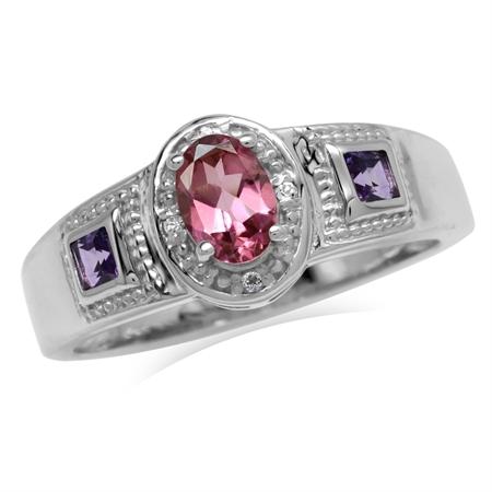 Natural Pink Tourmaline, Amethyst & White Topaz 925 Sterling Silver Bali/Balinese Style Ring