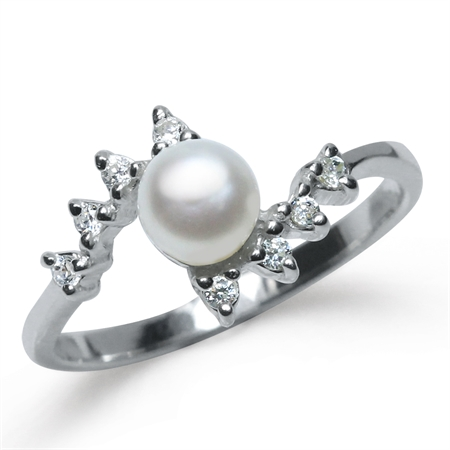 5MM Cultured Freshwater Pearl & White CZ 925 Sterling Silver Ring