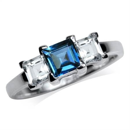 3-Stone Genuine London Blue Topaz 925 Sterling Silver Ring