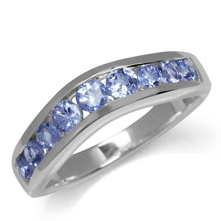 1.02ct. Genuine Tanzanite White Gold Plated 925 Sterling Silver Journey Ring