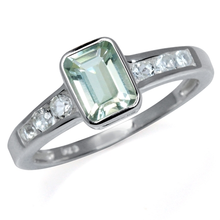 1.09ct. Natural Green Amethyst & White Topaz 925 Sterling Silver Engagement Ring