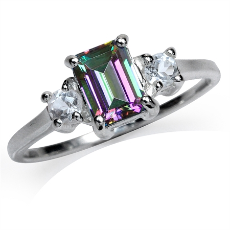 1.26ct. Mystic Fire Topaz 925 Sterling Silver Engagement Ring