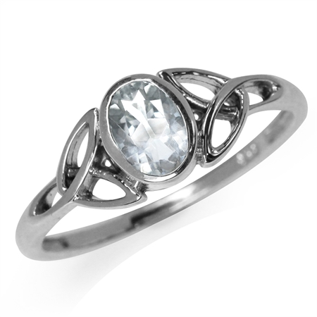 Genuine White Topaz 925 Sterling Silver Triquetra Celtic Knot Ring