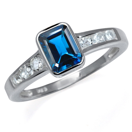 1.22ct. Genuine London Blue & White Topaz 925 Sterling Silver Engagement Ring