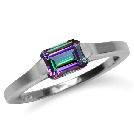 1.26ct. Octagon Shape Mystic Fire Topaz White Gold Plated 925 Sterling Silver Solitaire Ring
