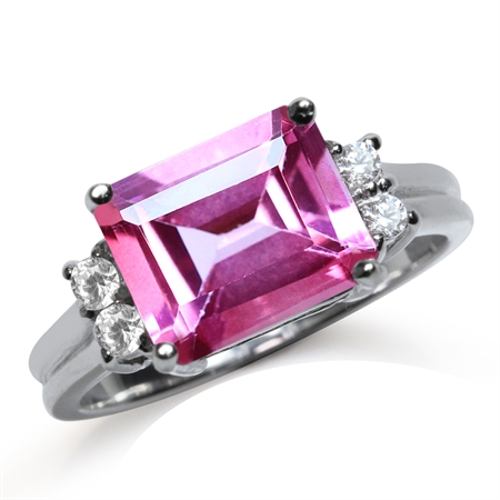 4.01ct. 10x8MM Genuine Octagon Shape Pink Topaz White Gold Plated 925 Sterling Silver Cocktail Ring