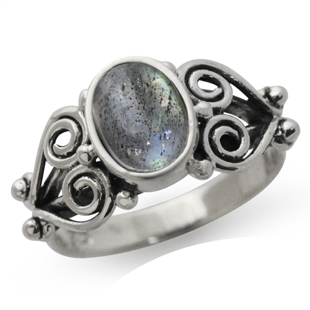 Natural Labradorite 925 Sterling Silver Victorian Style Ring