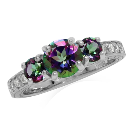 1.67ct. 3-Stone Mystic Fire Topaz White Gold Plated 925 Sterling Silver Ring