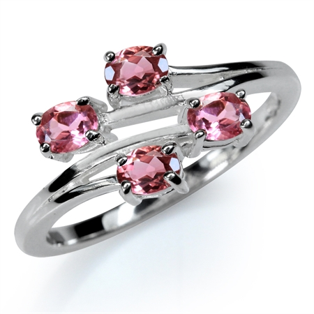 Natural Pink Tourmaline White Gold Plated 925 Sterling Silver Bypass Ring