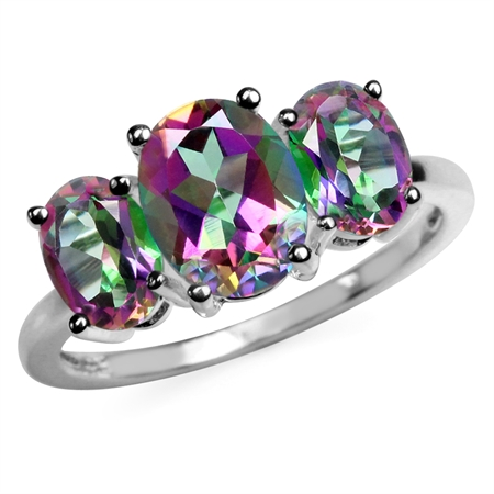4.02ct. 3-Stone Oval Shape Mystic Fire Topaz 925 Sterling Silver Ring