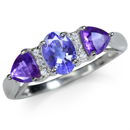 Genuine Tanzanite, African Amethyst & White Topaz 925 Sterling Silver Classic Ring