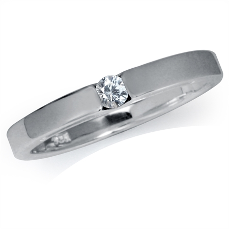 Natural White Zircon 925 Sterling Silver Solitaire Ring
