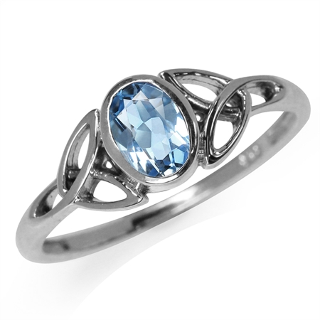 Genuine Blue Topaz White Gold Plated 925 Sterling Silver Triquetra Celtic Knot Ring