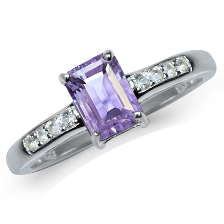 Natural Octagon Shape Amethyst & White Topaz 925 Sterling Silver Engagement Ring
