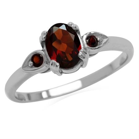 1.01ct. Natural Garnet 925 Sterling Silver Engagement Ring