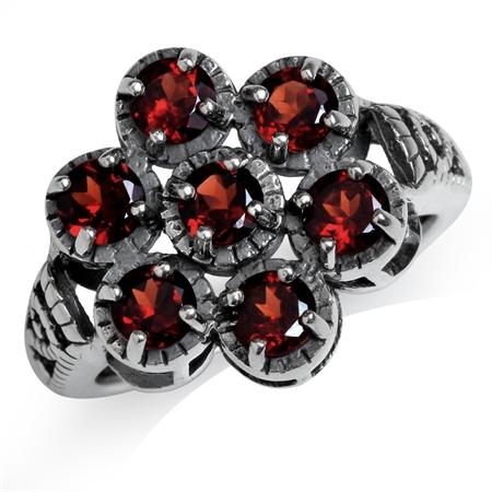 2.1ct. Natural Garnet 925 Sterling Silver Filigree Flower Cluster Ring