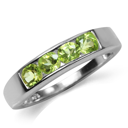 Natural Peridot White Gold Plated 925 Sterling Silver Journey Stack/Stackable Ring